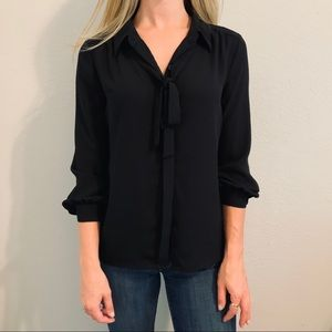 Express Black XS Tie Blouse